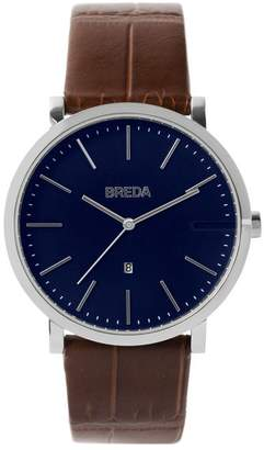 BREDA Men's Breuer Croc Embossed Leather Strap Watch, 39mm