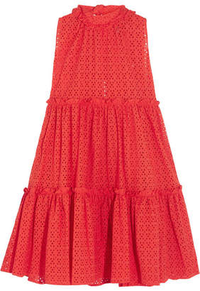 Lisa Marie Fernandez Ruffled Broderie Anglaise Cotton Mini Dress - Red