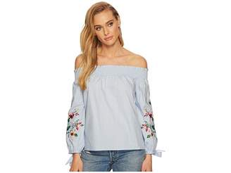 J.o.a. Embroidered Smocked Off the Shoulder Top Women's Clothing