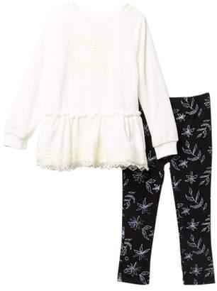 Calvin Klein Lace Velour Top & Legging Set (Toddler Girls)
