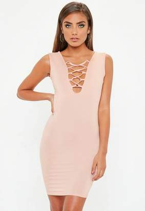 Missguided Nude Lace Up Front Bodycon Dress