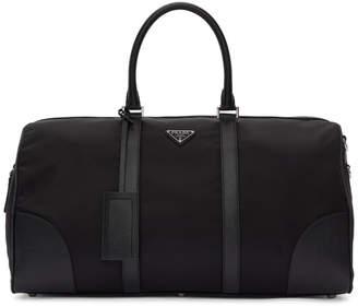 Prada Black Nylon and Saffiano Duffle Bag