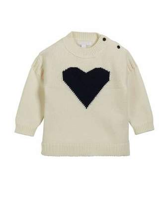 Burberry Mixed-Knit Heart Intarsia Sweater, Size 12M-3