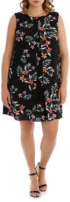 Tahitian Print Sheer Overlay Dress