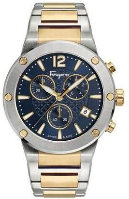 Salvatore Ferragamo Men's 41mm F-80 Two-Tone Chrono Bracelet Watch, Blue
