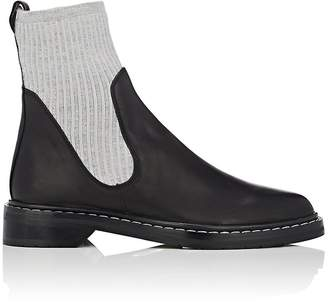 The Row Women's Fara Knit & Leather Ankle Boots