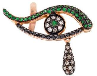 Ileana Makri 18K Tsavorite & Diamond Angry Tear Single Drop Earring