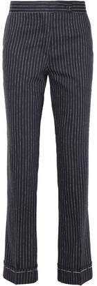 Golden Goose Venice Pinstriped Wool And Silk-blend Slim-leg Pants - Navy