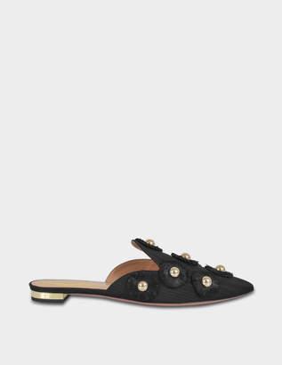 Aquazzura Sunflower Flat Shoes in Black Moire Fabric