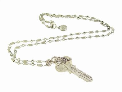 Gas Bijoux Silver Plated Long Necklace with Faux Crystal Key