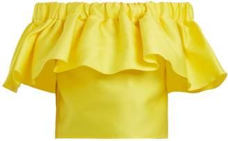 Maison Rabih Kayrouz Off-the-shoulder ruffled satin cropped top