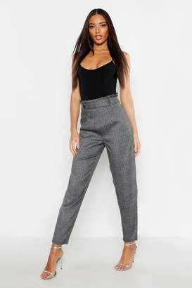 67871b2a72e95 boohoo Paper Bag Waist Check Tapered Trousers