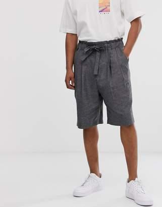 Asos wide smart shorts in crosshatch linen mix