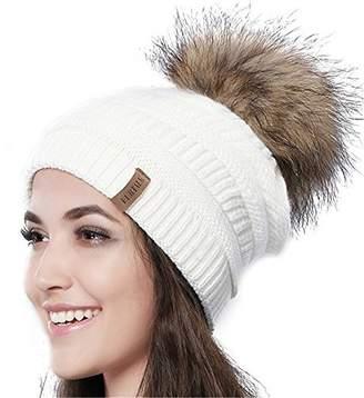 63c84a536fe Womens Winter Knit Beanie Hat Slouchy Skull Cap Real Fur Pom Pom Hats Cap  For Girls