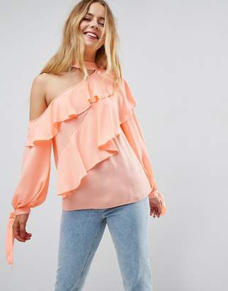 Asos Design Ruffle Blouse with Exposed Shoulder & Neck Band