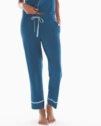 Cool Nights Satin Trim Ankle Pajama Pants Shadow Blue