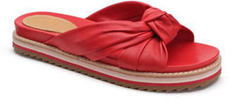 Bill Blass Padget Flat Knotted Leather Slide Sandals