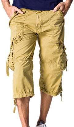 Hzcx Fashion Mens Washed Cotton Long Capris Multi-Pockets Casual Cargo Shorts QT6023-1320-45-BE