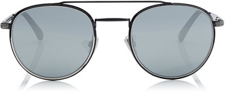 Jimmy Choo DAVE Black and Silver Oval Sunglasses with Mirror Lenses