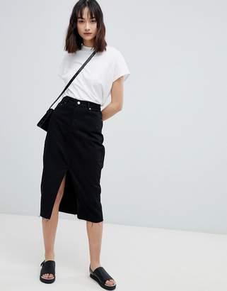 Dr. Denim Midi Denim Skirt with Split Front Seam