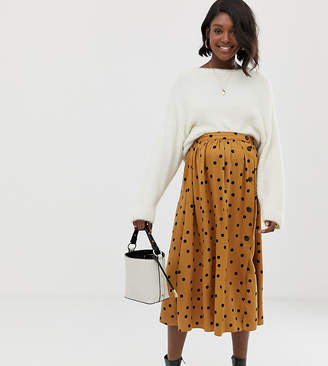 b0a2dd3bc73 Asos DESIGN Maternity button front midi skirt in polka dot