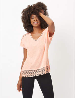 George Peach Crochet Trim V-Neck Top
