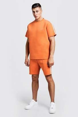 boohoo Scuba MAN T-Shirt & Short Set With Tape