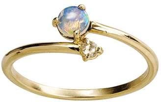 WWAKE Opal With Diamond Crossover Ring