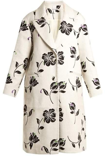 HUISHAN ZHANG Alison floral-jacquard single-breasted coat