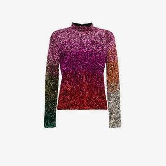 Ashish high neck tinsel embellished silk top