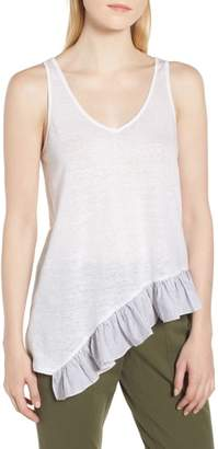 Nordstrom Signature Asymmetrical Ruffle Bottom Tank Top