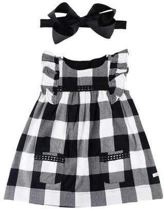 RuffleButts Check Flutter Sleeve Dress & Bow Head Wrap Set