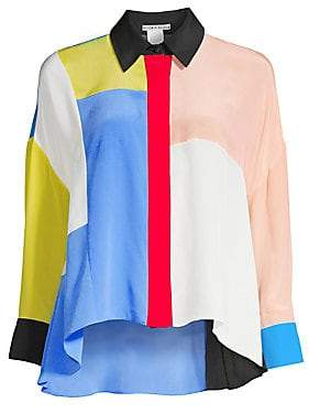 Alice + Olivia Women's Colorblock High-Low Button-Down Silk Shirt