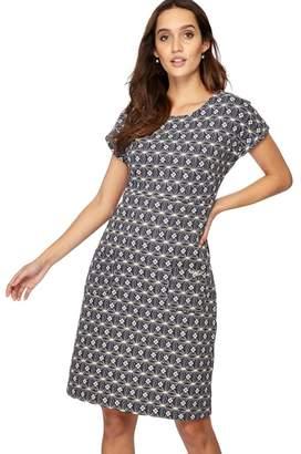 4318104653 Weird Fish - Black Printed Jersey Knee Length Shift Dress