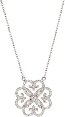 Jude Frances 18K Delicate Pave Heart Fleur Pendant Necklace