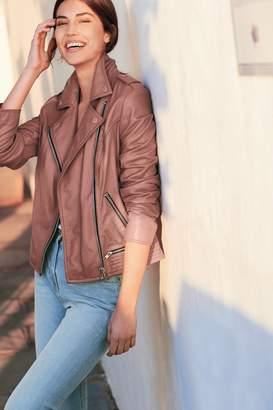 Next Womens Rose Leather Biker Jacket - Pink