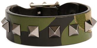 Valentino Men's Rockstud Camo Leather Bracelet $245 thestylecure.com