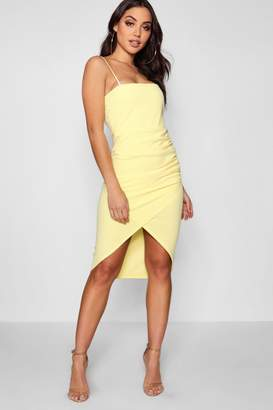 boohoo Square Neck Wrap Skirt Midi Dress
