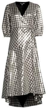 Ganni Lagarde Metallic Plaid Wrap Dress