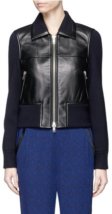 3.1 Phillip Lim3.1 Phillip Lim Wool knit sleeve lambskin leather jacket