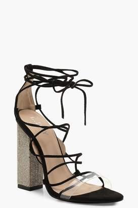 boohoo Embellished Block Heel Lace Sandals