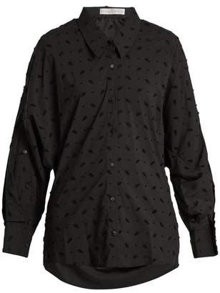 Palmer Harding Palmer//Harding Palmer//harding - Open Back Flocked Cotton Blend Shirt - Womens - Black