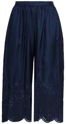 Alice + Olivia Cropped Embroidered Silk-Twill Wide-Leg Pants