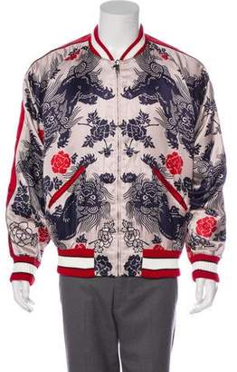 Gucci Silk-Blend Dragon Bomber Jacket