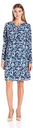 Lark & Ro Women's Long Sleeve Knot Front Dress