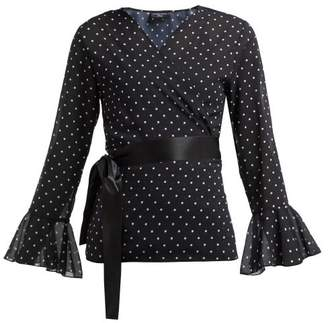 Pepper & Mayne - Dolce Polka Dot Print Chiffon Wrap Top - Womens - Black White