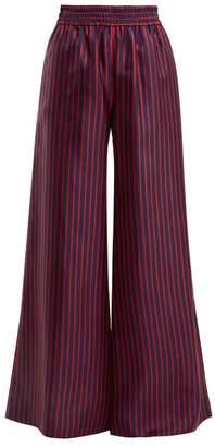 La Doublej - High Rise Wide Leg Striped Silk Trousers - Womens - Red Multi