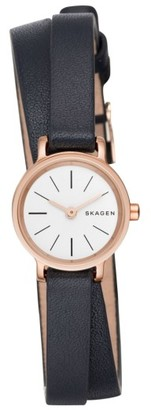 Women's Skagen Hagen Round Wrap Leather Strap Watch, 20Mm $155 thestylecure.com