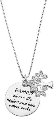 """Charmed By Diamonds CHARMED BY DIAMONDS 1/10 Carat T.W. Diamond Sterling Silver """"Family"""" Tree & Disc Pendant Necklace"""