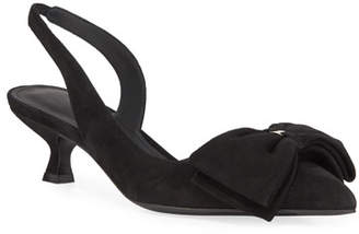 Salvatore Ferragamo Reda Slingback Pumps with Floppy Bow & Vara Hardware